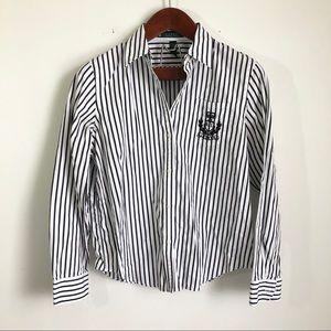 LRL Crest Button Up Blouse Top Black Striped L